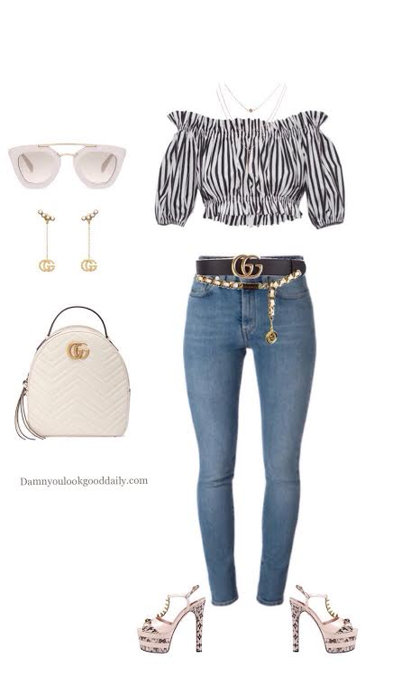 summer-outfit-with-jeans-off-the-shoulder-top-platfoms