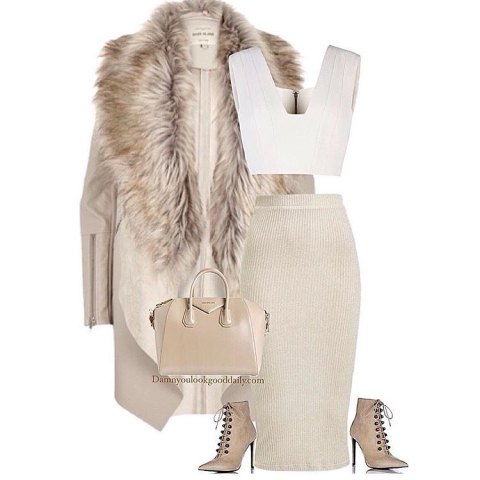 dressy-winter-outfit-idea-fur-jacket-nudeknit pencil skirt nude lace-up booties