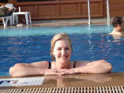 Mum enjoying the pool in the Thai heat