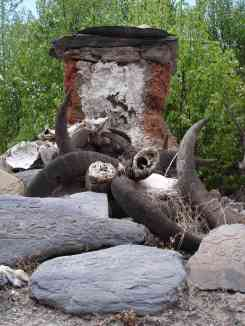 Shrine displaying Yak horns