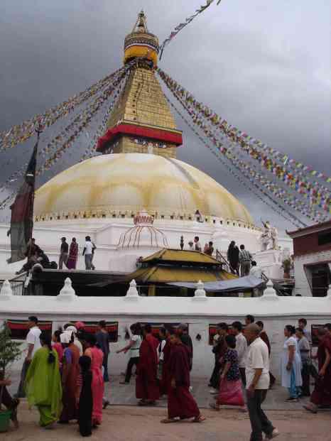 The magic of sunset at Bohdnath Stupa
