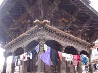 A several century old temple used as a clothes line