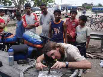 Roadside repairs are always popular with the locals
