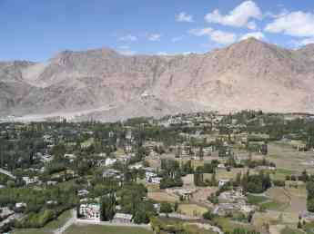 View from Tsemo Gompa over my house and to Shanti Stupa