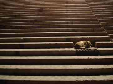 Asleep on the ghats in Varanasi