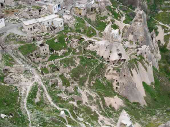 Looking down at a small village in Cappadocia