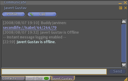 Instant message window in Second Life