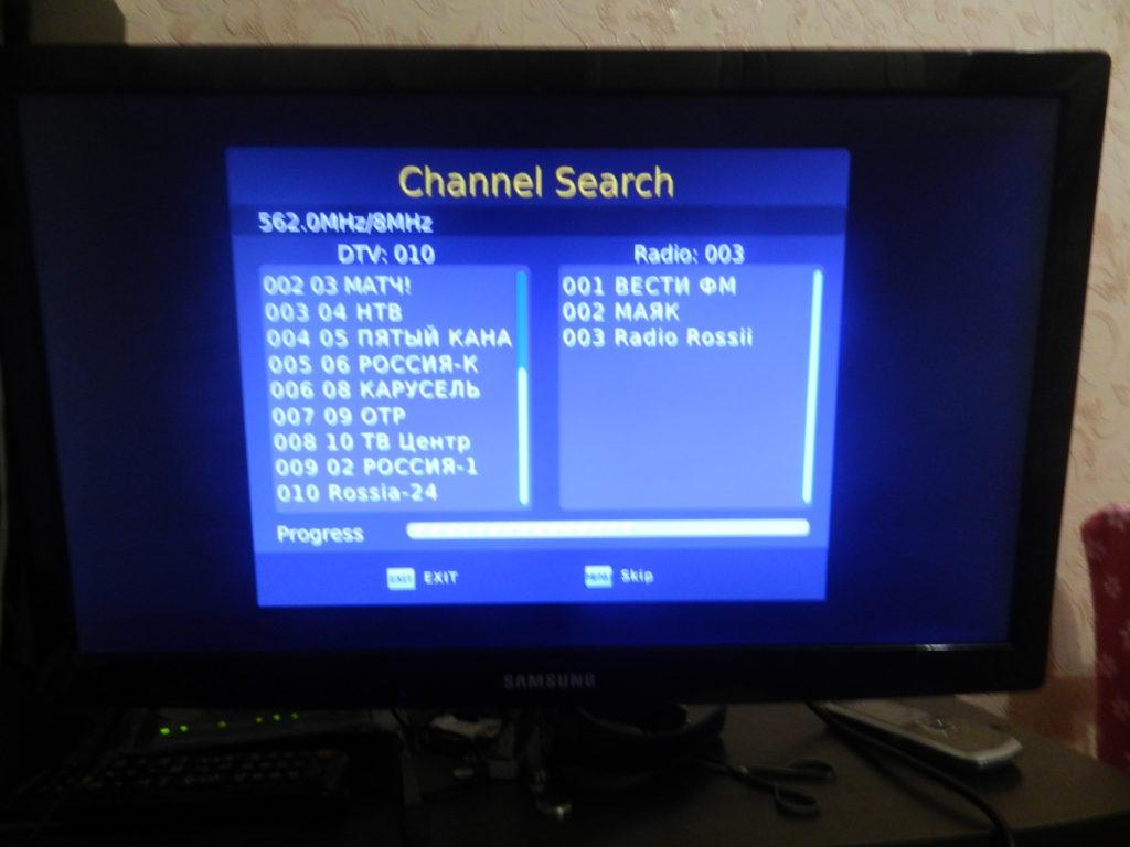 Resultatet af søgning kanaler