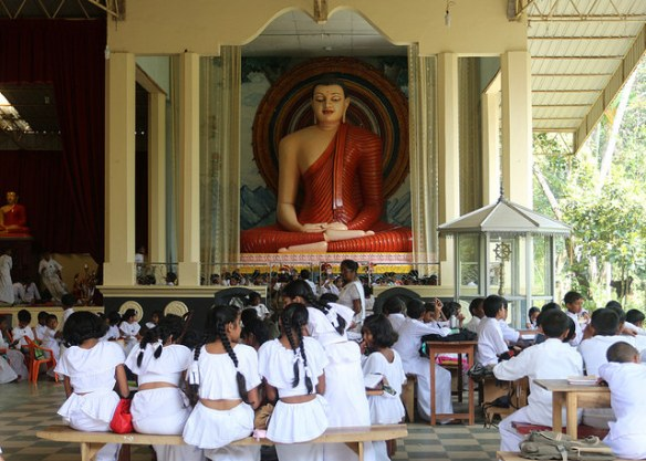 Sunday Buddhist School at Sri Subodharamaya, Peradeniya. Photograph by Denish C via Flickr