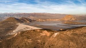 Aerial view of Las Tortolas tailings dam in Santiago Metropolitan Region, central Chile