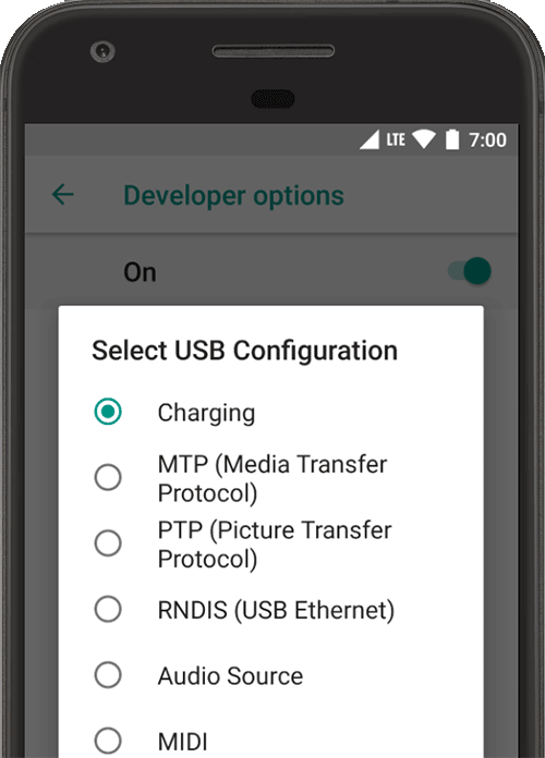how to change usb settings on galaxy s8