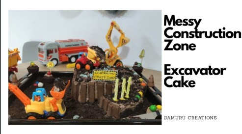Messy construction theme excavator cake