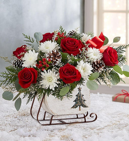1800 Flowers sleigh holiday basket