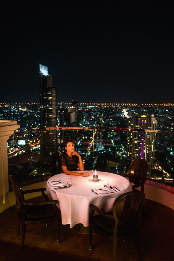 Dinner at Lebua Hotel in Bangkok Thailand. Overlooking the city at night.