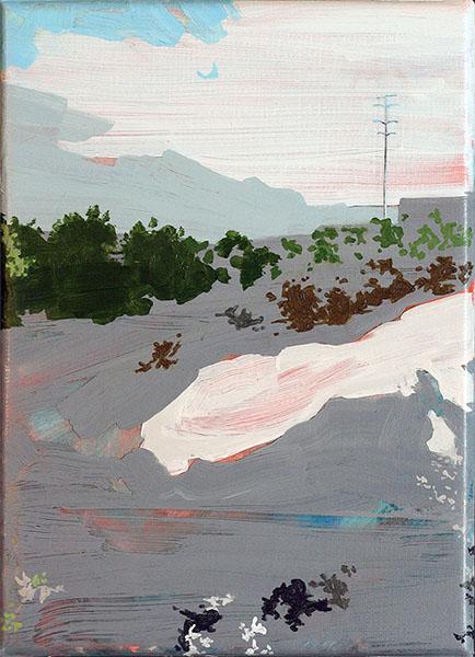 Vue depuis le pont du Drac, 2015, Acrylic on linen, 22 x 16 cm, 9 x 6 in.