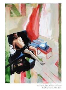 Homme sur Canapé, 2015, Acrylic on linen, 46 x 33 cm