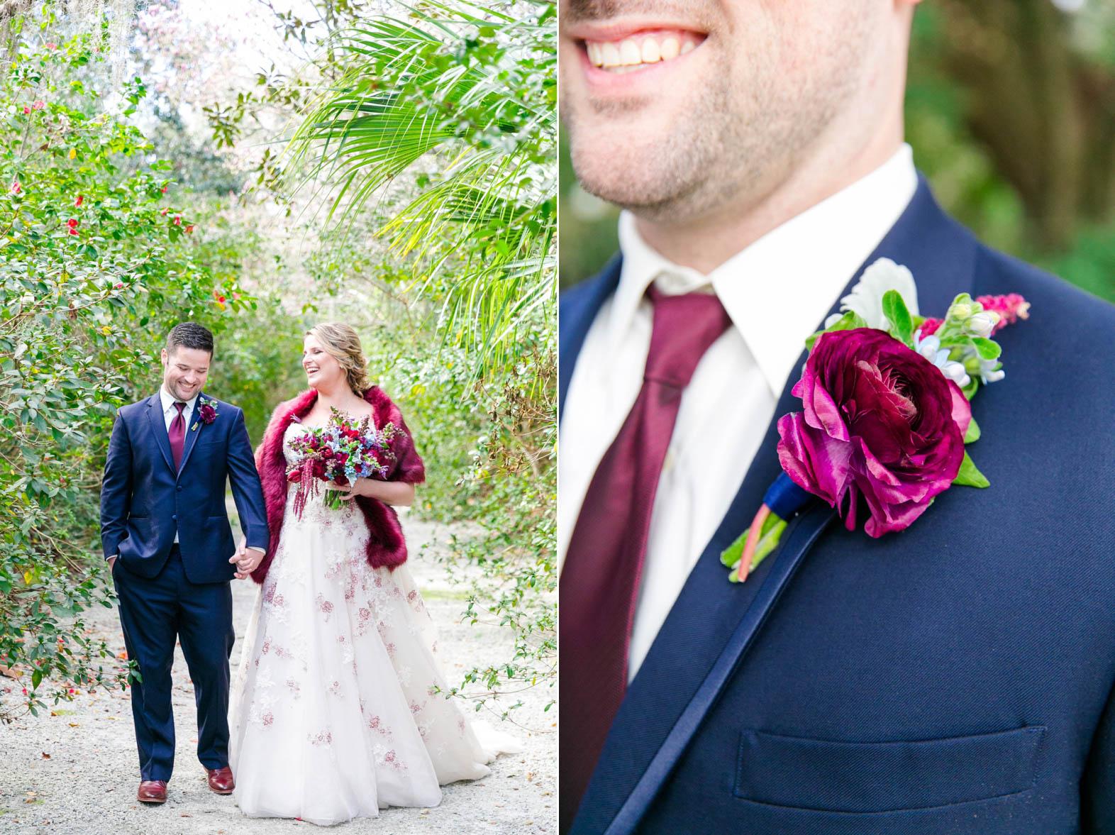 Jennie  Jonathan  Navy  Burgundy Winter Wedding at Magnolia Plantation  Dana Cubbage
