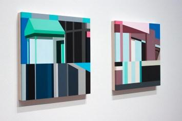 Facade 9 & 10 2017, acrylic on panel, 24″x 24″x 2″