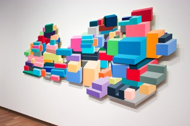 Cairn, 2013, acrylic on mdf, 5 panels, relief painting, 130″ x 48″