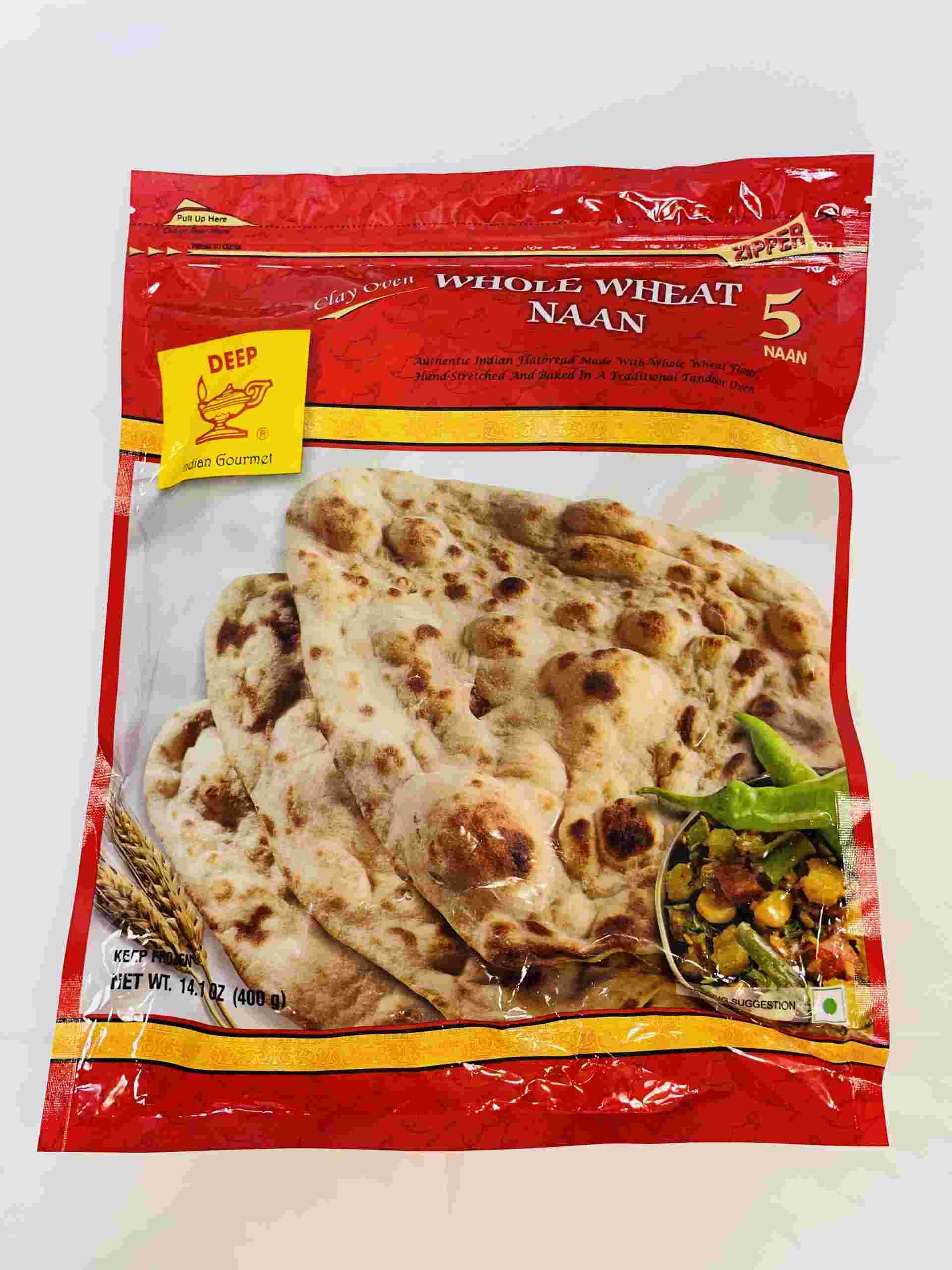 Deep  Whole Wheat Naan 5 Pieces