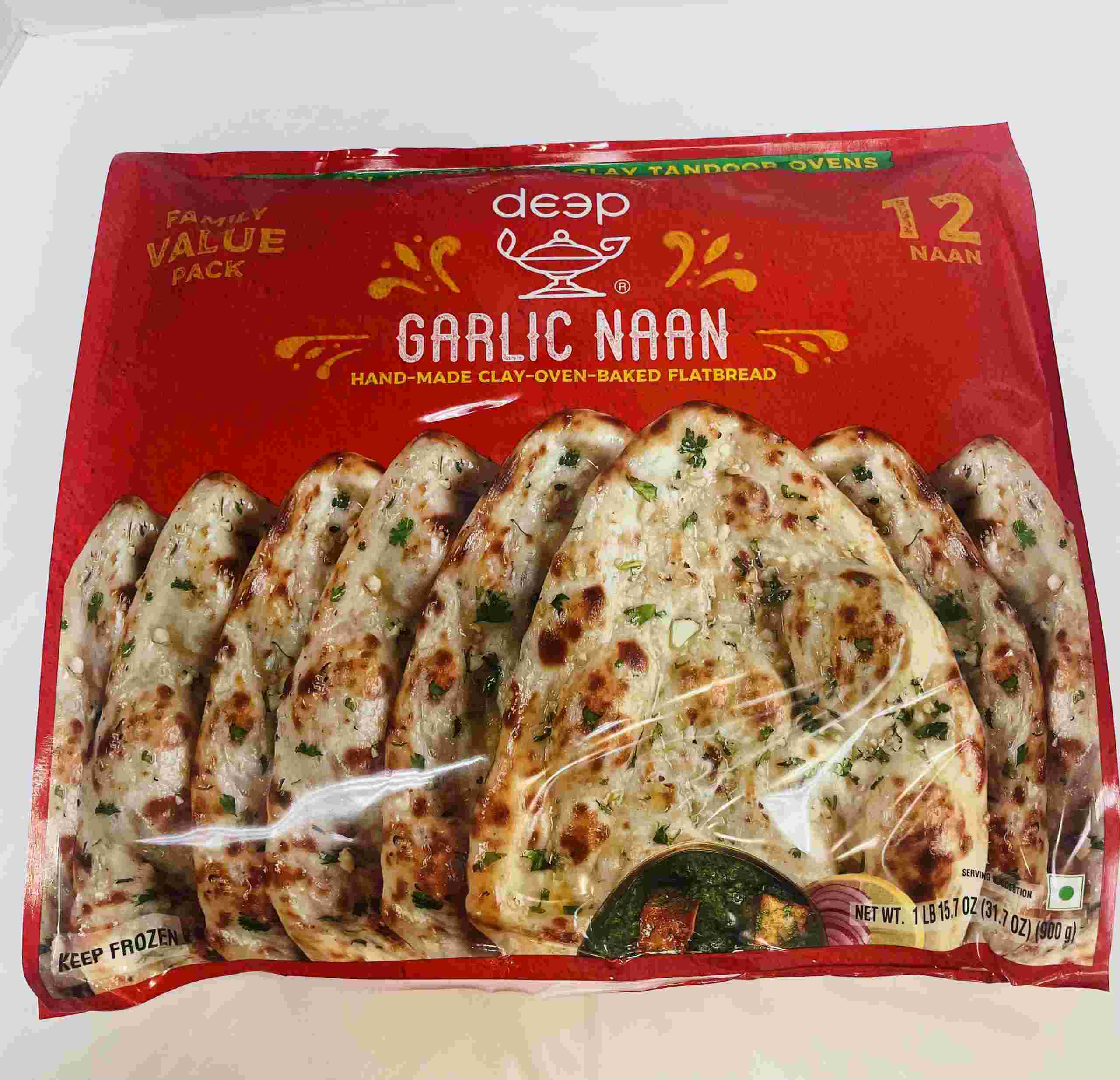 Deep  Garlic Naan  Pices 12 Pieces
