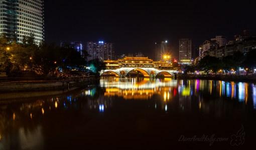 Chengdu's Anshun Lang Bridge at Night