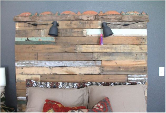 Guest Room Headboard, DIY headboard, Pallet Wood, pallet wood headboard, wood headboard