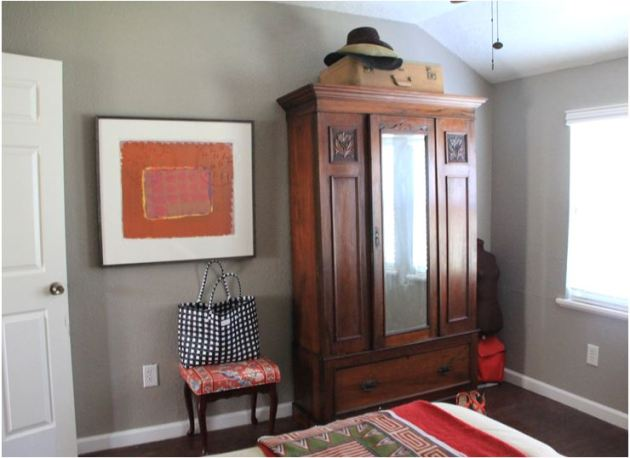 wardrobe, antique, room with no closet, storage solution, dana plus david, houston tx blog