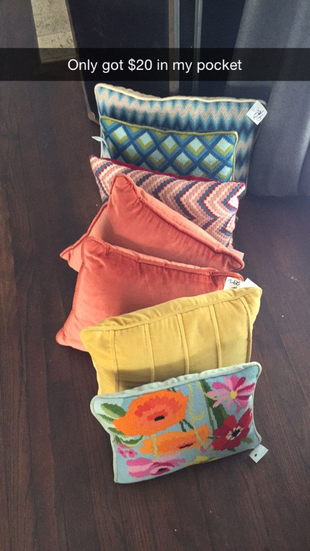 pillows, thrift store pillows, vintage pillows