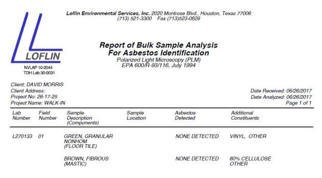 no asbestos, houston asbestos test, loflin environmental services