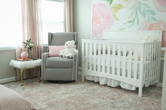 blush nursery, nursery ideas, dana moris, wayfair rug, blush rug, tapestry, floral wall, white crib, target bedding, girl nursery ideas, interior design