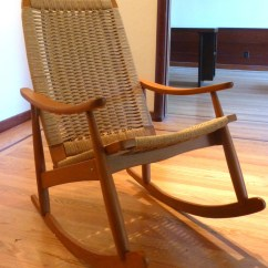 Hans Wegner Rocking Chair Teal Parsons Mid Century Danish Modern Woven Rope Style