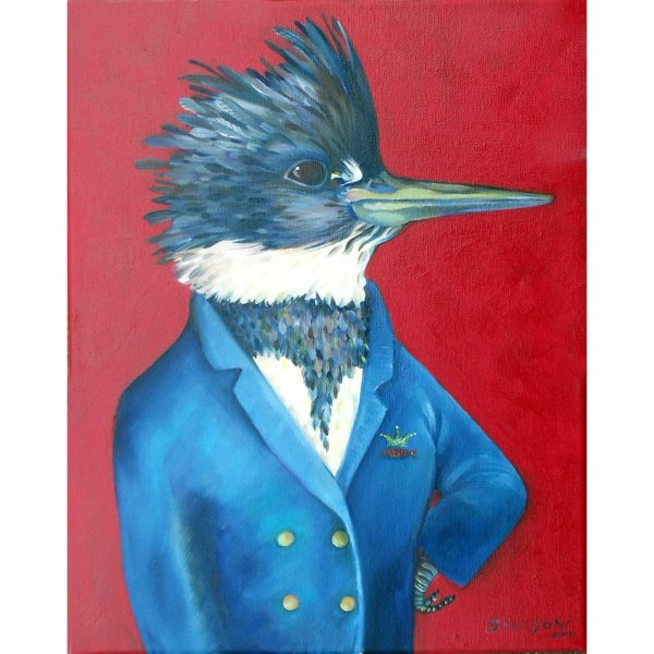 art print of a Kingfisher in a blue captain's jacket with a crown and fish on it. Bright red back ground.