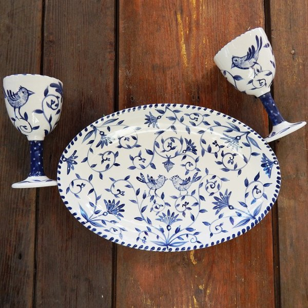 """Delft Blue birds """"Happy.nest"""" Platter with two matching goblets"""