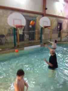 basket ball 3 and 4 ft water