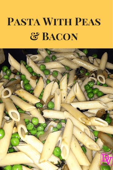 Pasta with Peas bacon & onion, onions, food, food blogger, recipe, cooking, diy, in the kitchen, pasta onions, pasta bacon, pasta peas, pasta meal, easy to create, dana vento