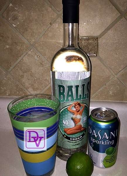 Balls Vodka, Balls, Vodka, Vegan, Non GMO, Drinks, Alcohol, cocktails, beverages, spirited libation, dasani, sparkling wtaer, lime, fresh, ice, got balls, balls, dana vento, food blogger, entertaining, ad