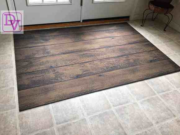 Fo Flor Mat, Back door, rubber backed, easy to clean, tracking, wipe clean, flooring, easy to use, roll out, put down, looks like wood, dirt, grass, mud, shoes, tracking in the house, wash, wipe, Everything Doormats, home decor, trending, versatile, ad, dana vento, 44 x 66