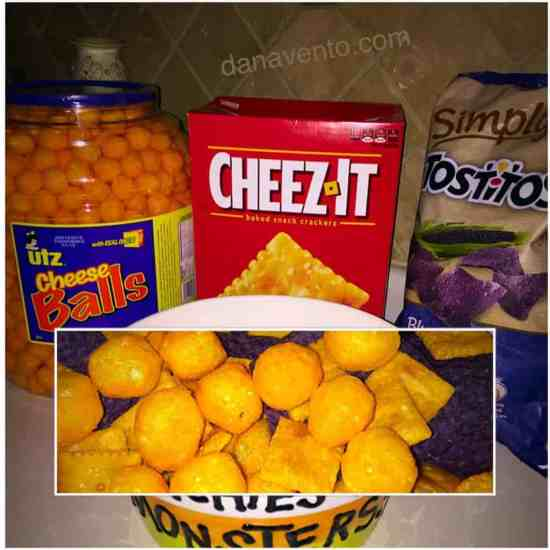 snacks, salty, Halloween, easy recipe, food, food blogger, recipes, Halloween REcipe, Easy to make, food, foods, kids, snacking, cheese balls, crackers, corn chips, blue corn chips, fast, easy foods, celebrate, parties, dana vento