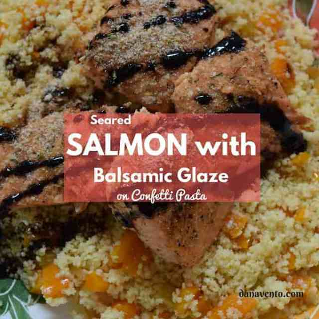 Seared Salmon With Balsamic Glaze on Confetti Pasta