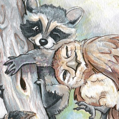 Raccoon Owl Cuddles: custom mixed media animal art