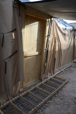 The new front door for the tent - the original tent flap was repurposed into an awning & we also built a little 'mud mat' for the front door