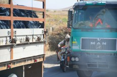 trucks, buses, cars and of course overloaded 3-wheelers