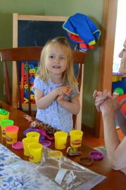 Kennadi & Kate playing Play Dough
