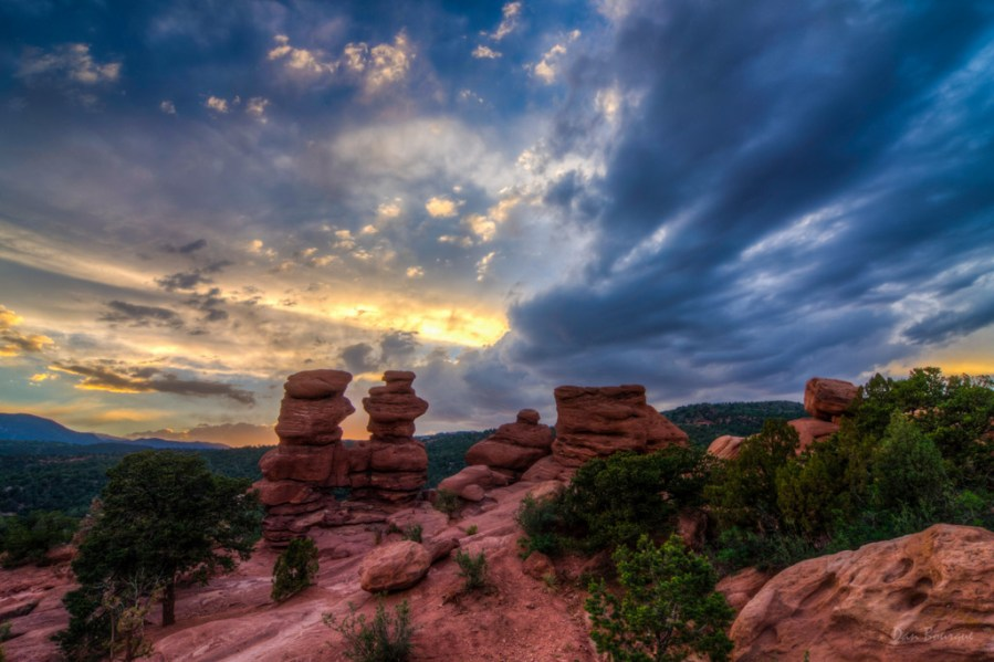 Red Rocks under a Canopy of Blue and Gold landscape photo Garden of the Gods Colorado by Dan Bourque