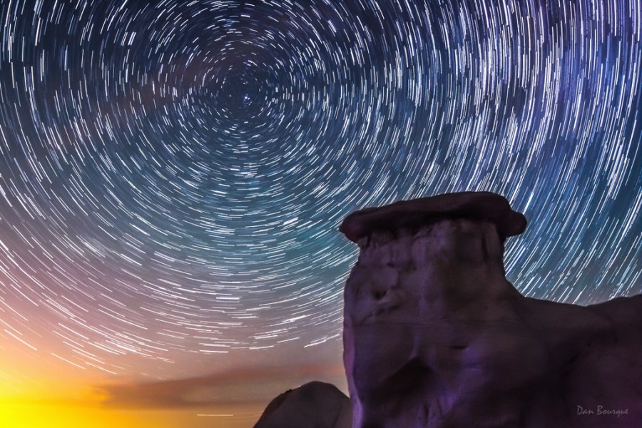 Star Trails over Rainbow Lights night photo of Paint Mines Colorado by Dan Bourque