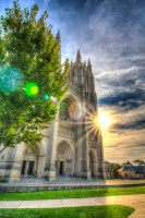 Rays Behind the Cathedral photo of National Cathedral Washington DC by Dan Bourque