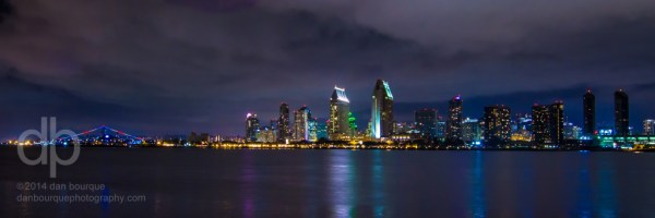 San Diego Night Skyline panorama by Dan Bourque