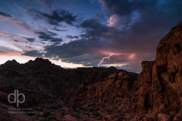 Valley of Fire and Lightning landscape photo by Dan Bourque