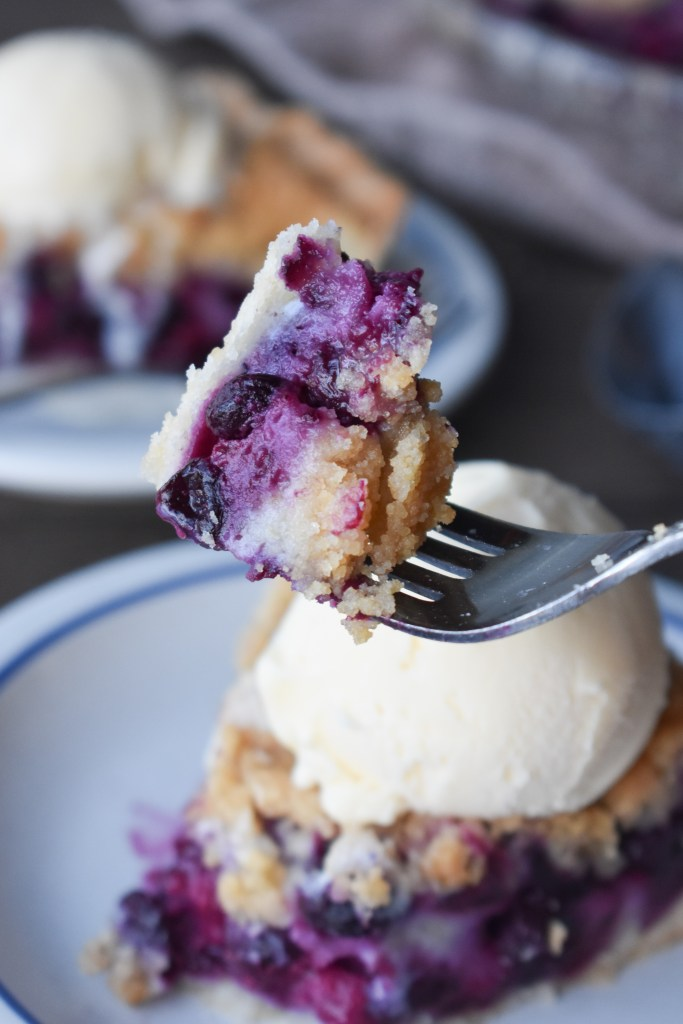 Fork with a bite of Blueberry Pie with Ice Cream